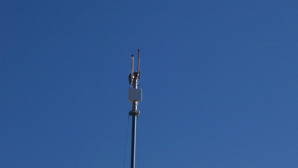 PA300E with custom high gain directional antennas acting as a repeater. The IP55 housing allowed for outdoor mounting.