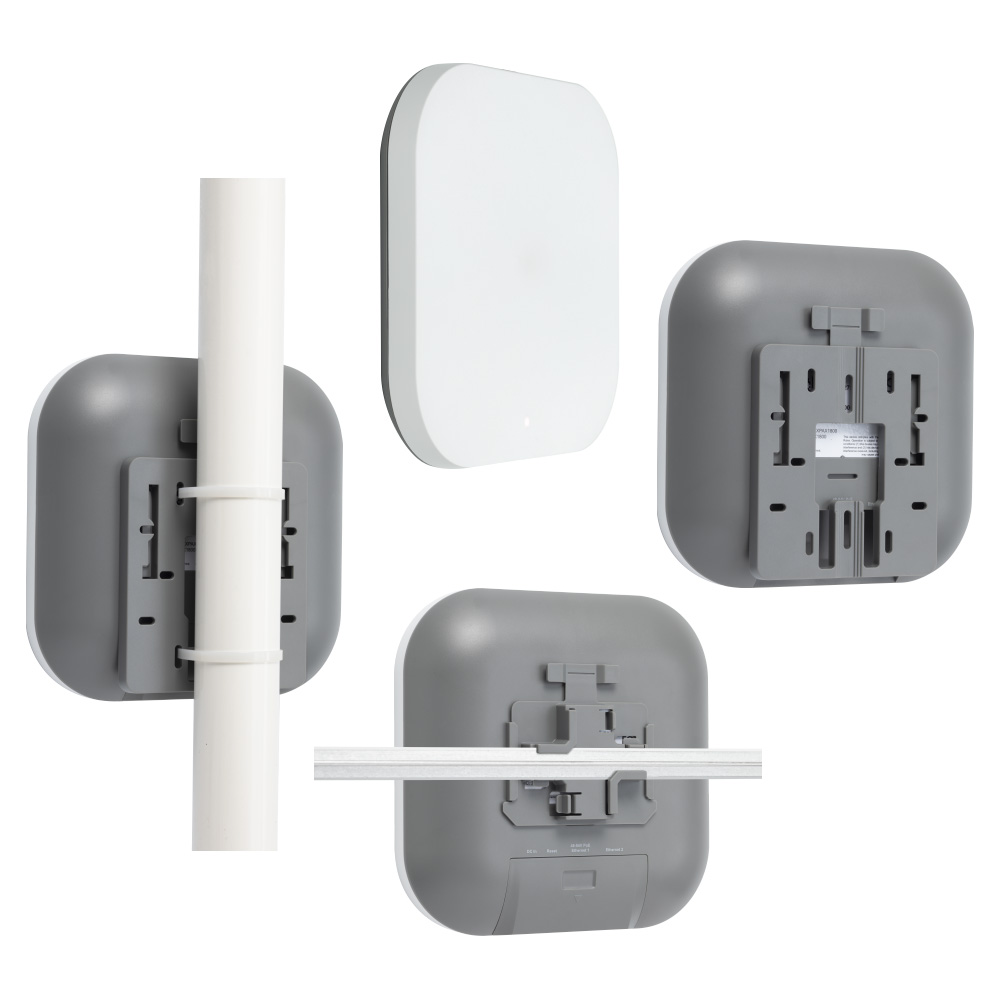 Plasma Cloud's PAX1800 WiFi 6 Access Point mounted on a junction plate, a t-rail, a pole and a wall.